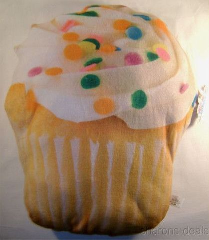 Cupcake Vanilla Icing Sprinkles Realistic Looking Sweet Dreams Food Pillow Plush