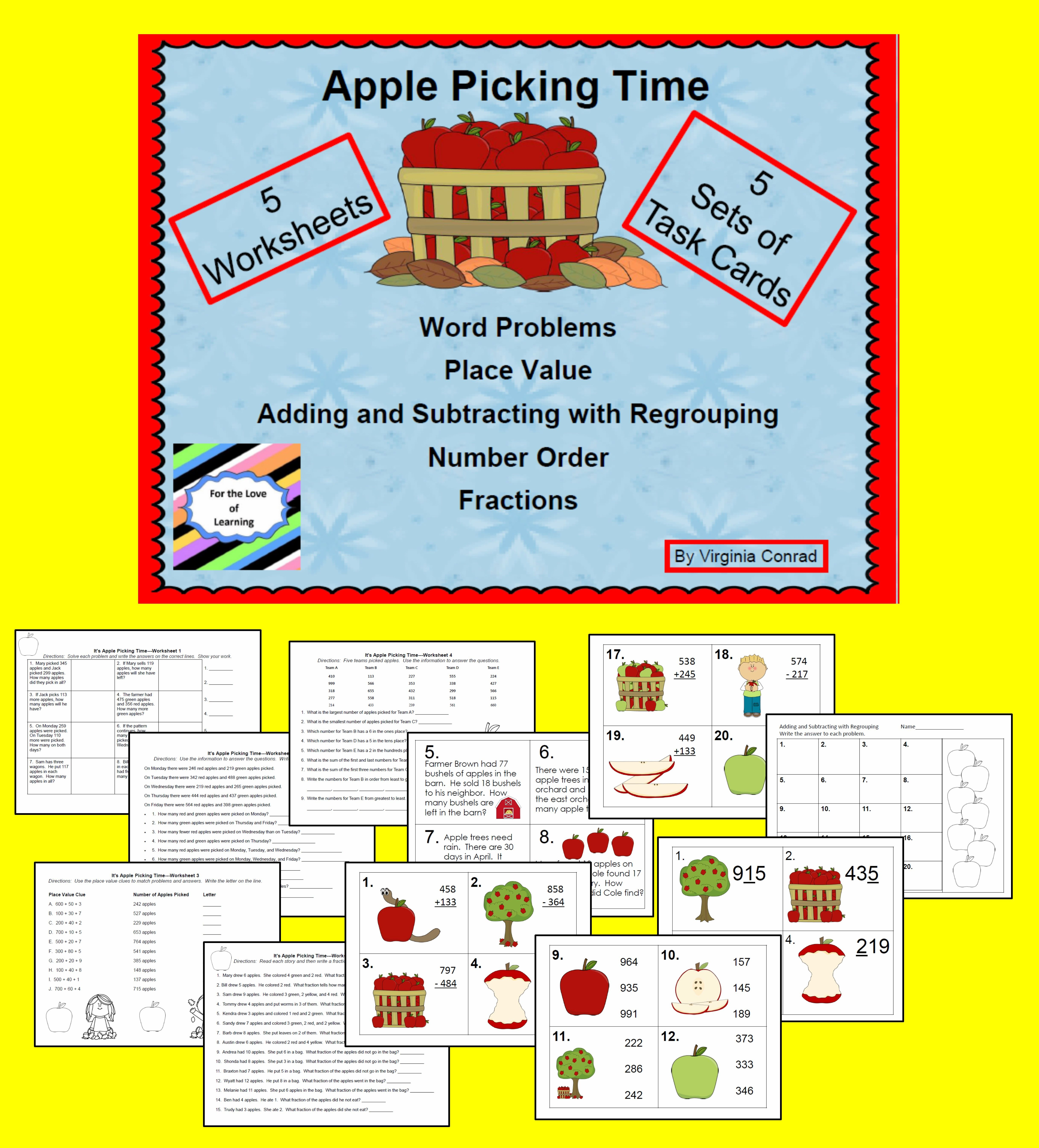 Apple Picking Time Task Cards And Worksheets