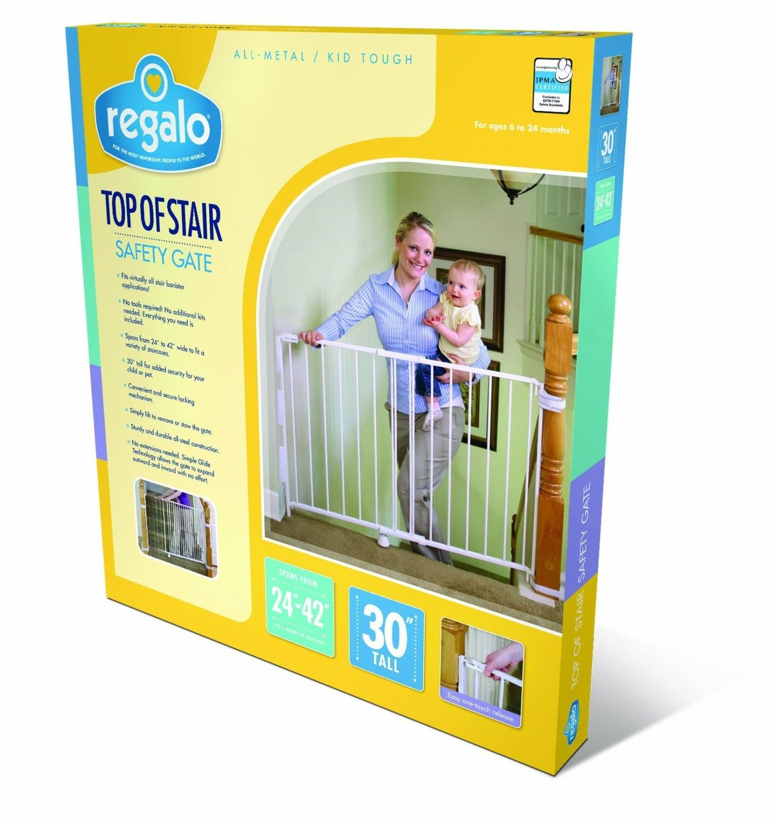 Regalo Extra Tall Top Of Stairs Gate Mounting Kit White Baby Child Safty At  Home