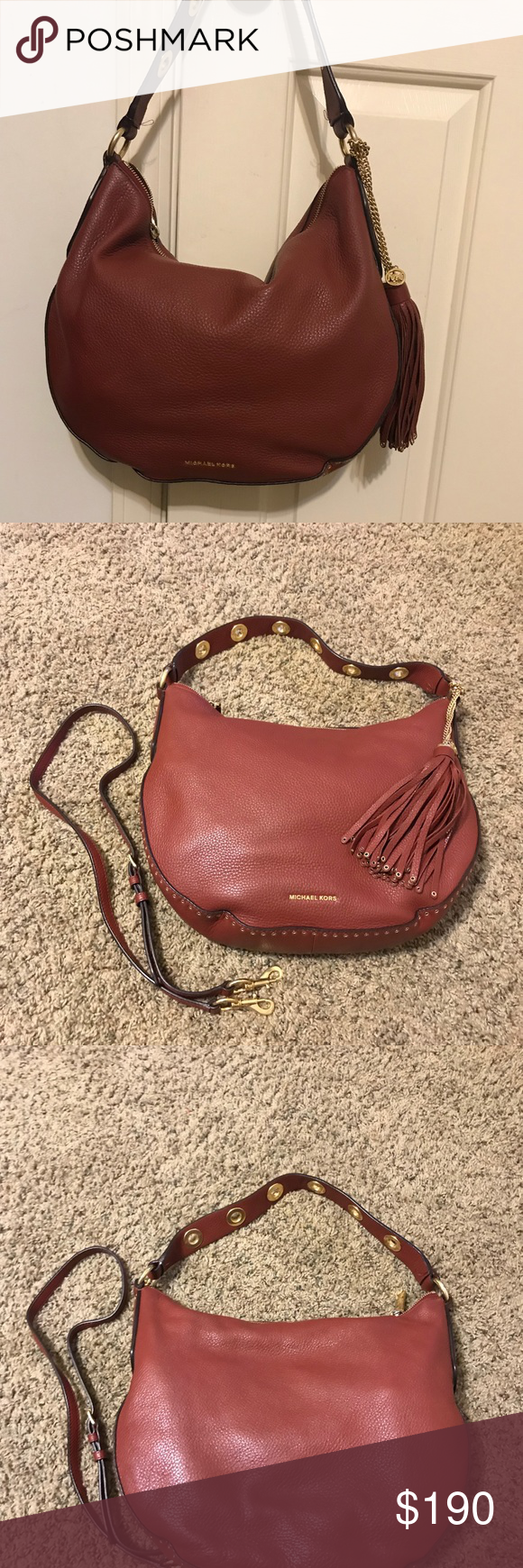 ed6350dd1088 Michael Kors Brooklyn Large Convertible Hobo Very good used condition.  Color is MK Brick Inside