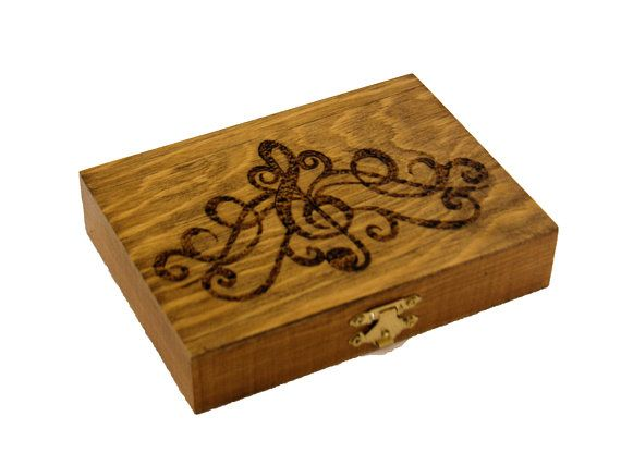 Handmade Wooden Oboe Reed Case Wood Burned Holds 28 Reeds Last