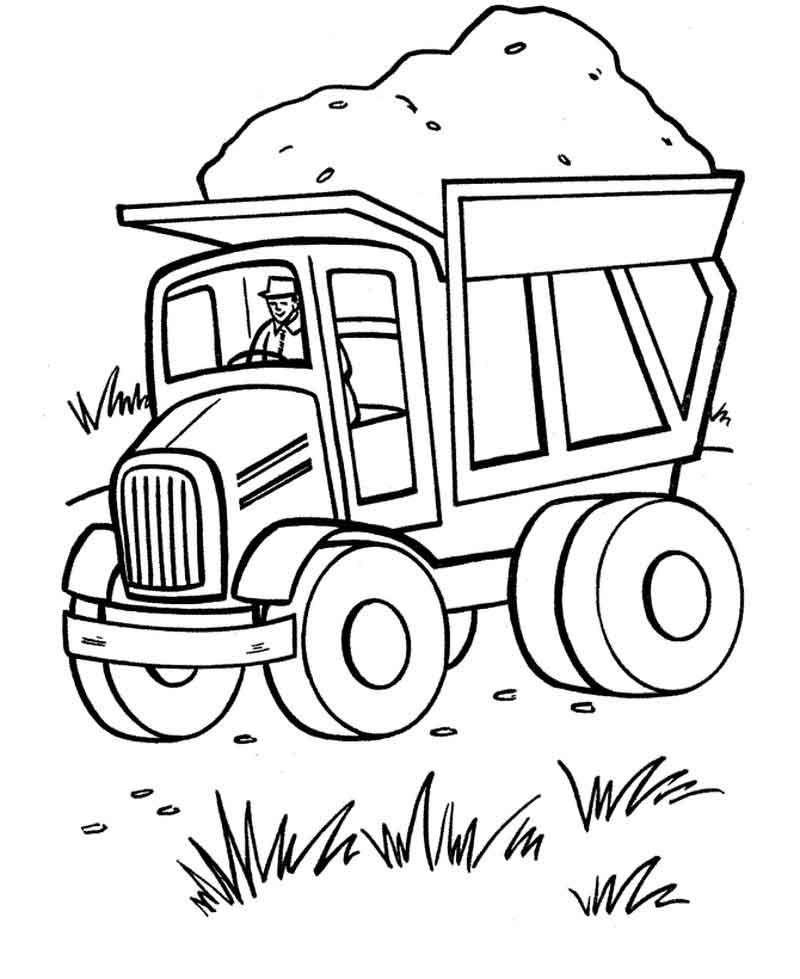 Dump Truck Coloring Pages Printable Warna Hewan