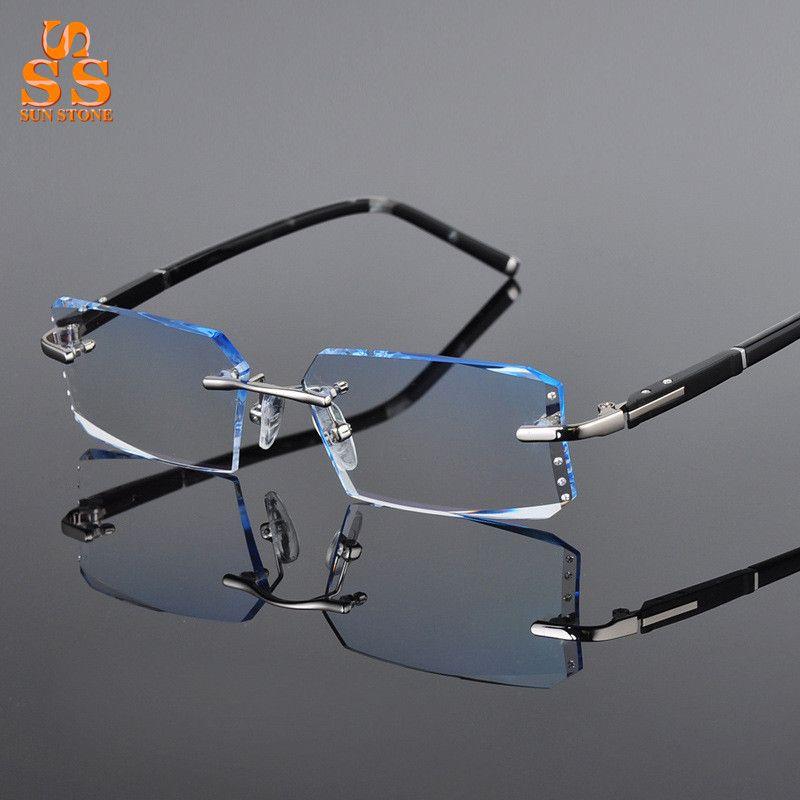00081938039 Men s High Grade Rimless Diamond Cutting Gradient Finished Myopia or  Presbyopia Glasses Optics Eyewear Filling Prescription