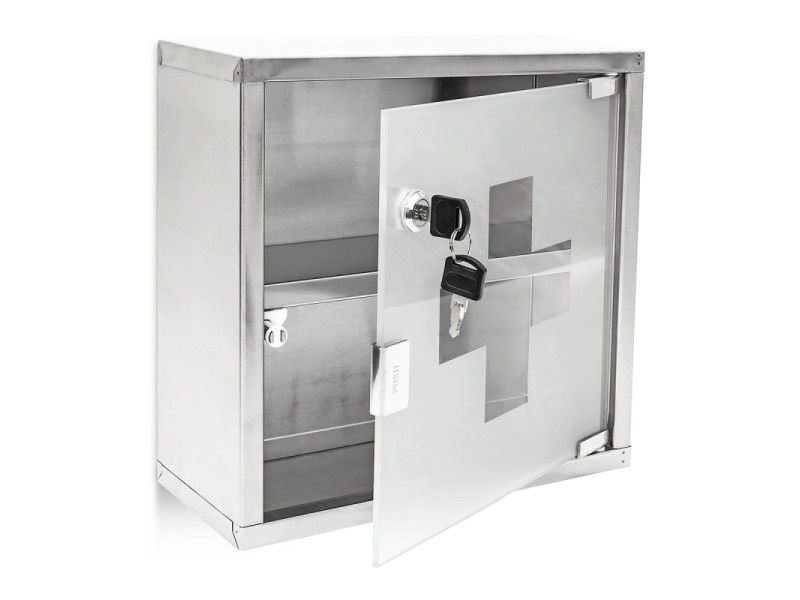 Armoire à médicaments pharmacie métal et verre avec deux clés 30 x30 - Conforama Meuble De Cuisine