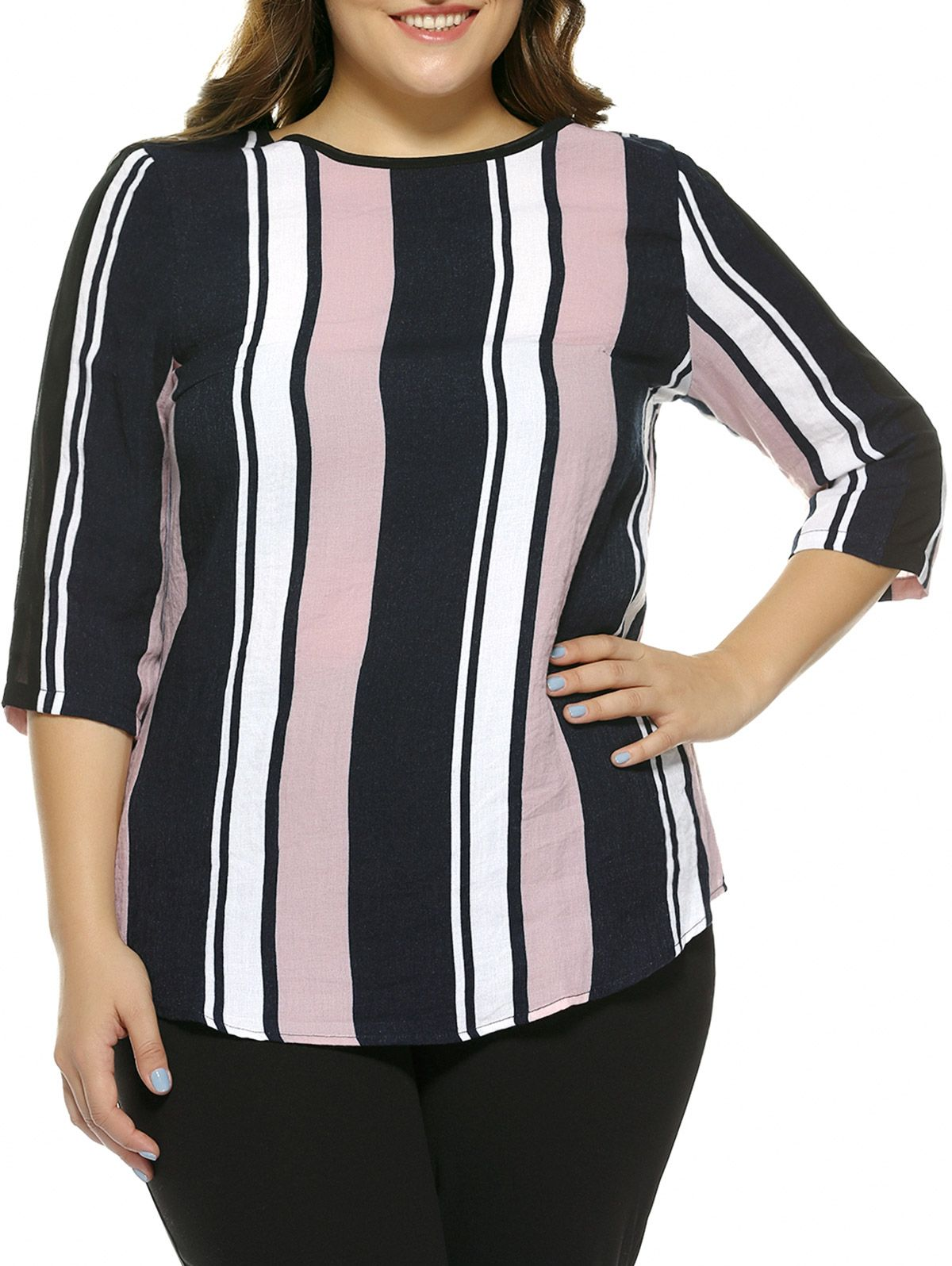 NEXTMIA - Oversized Elegant Color Block Stripe Blouse