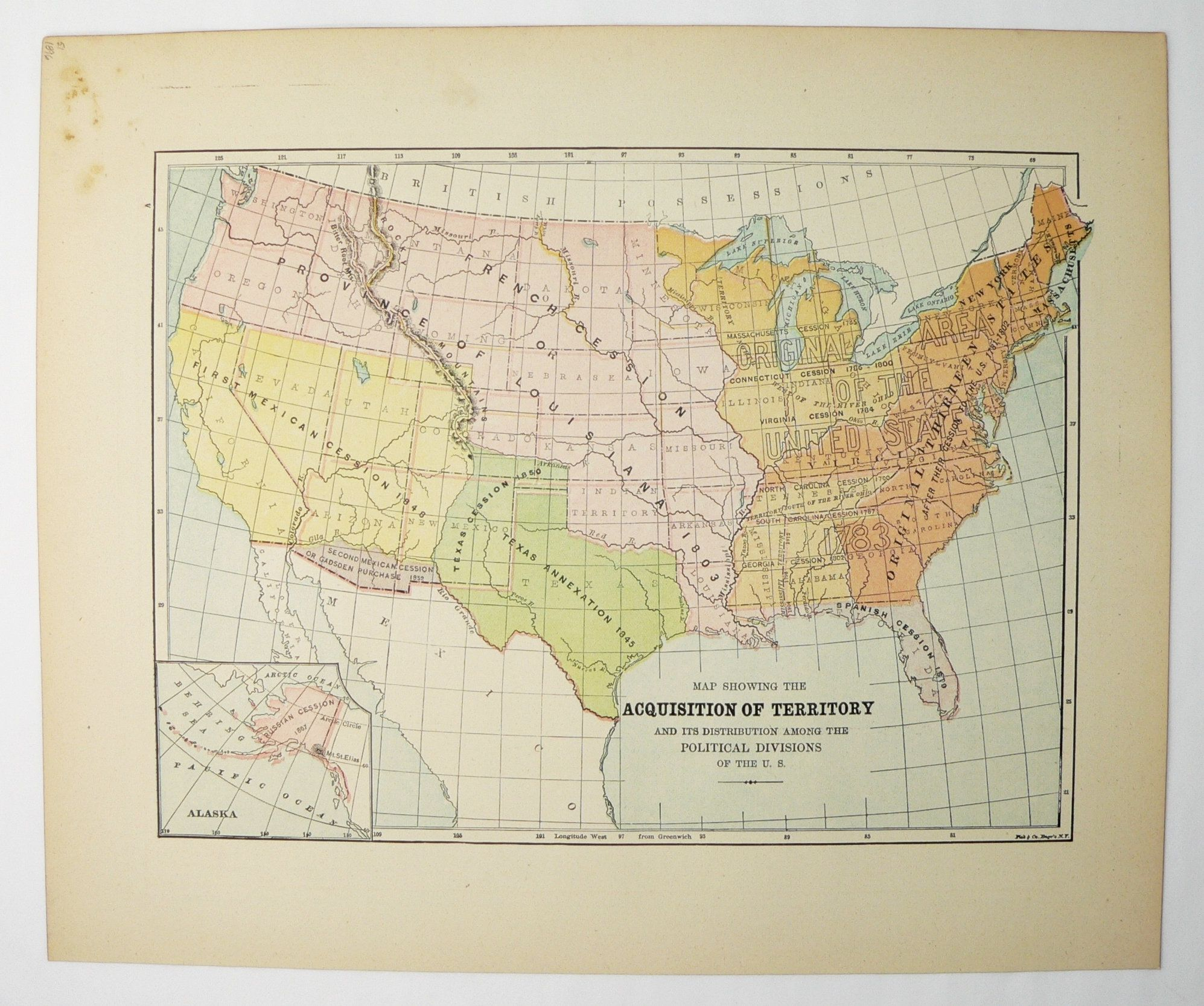Vintage Us Map Historical Map Of United States