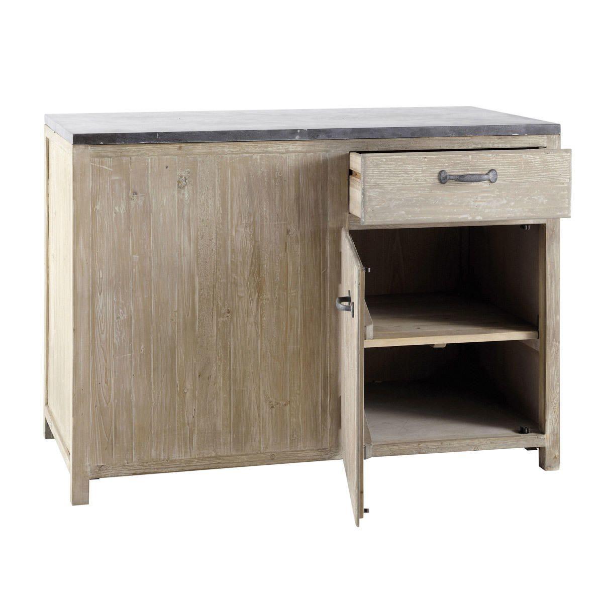 Meuble Bas De Cuisine En Bois Recycle L 120 Cm Copenhague Kitchen Base Units Kitchen Sink Units Pine Kitchen