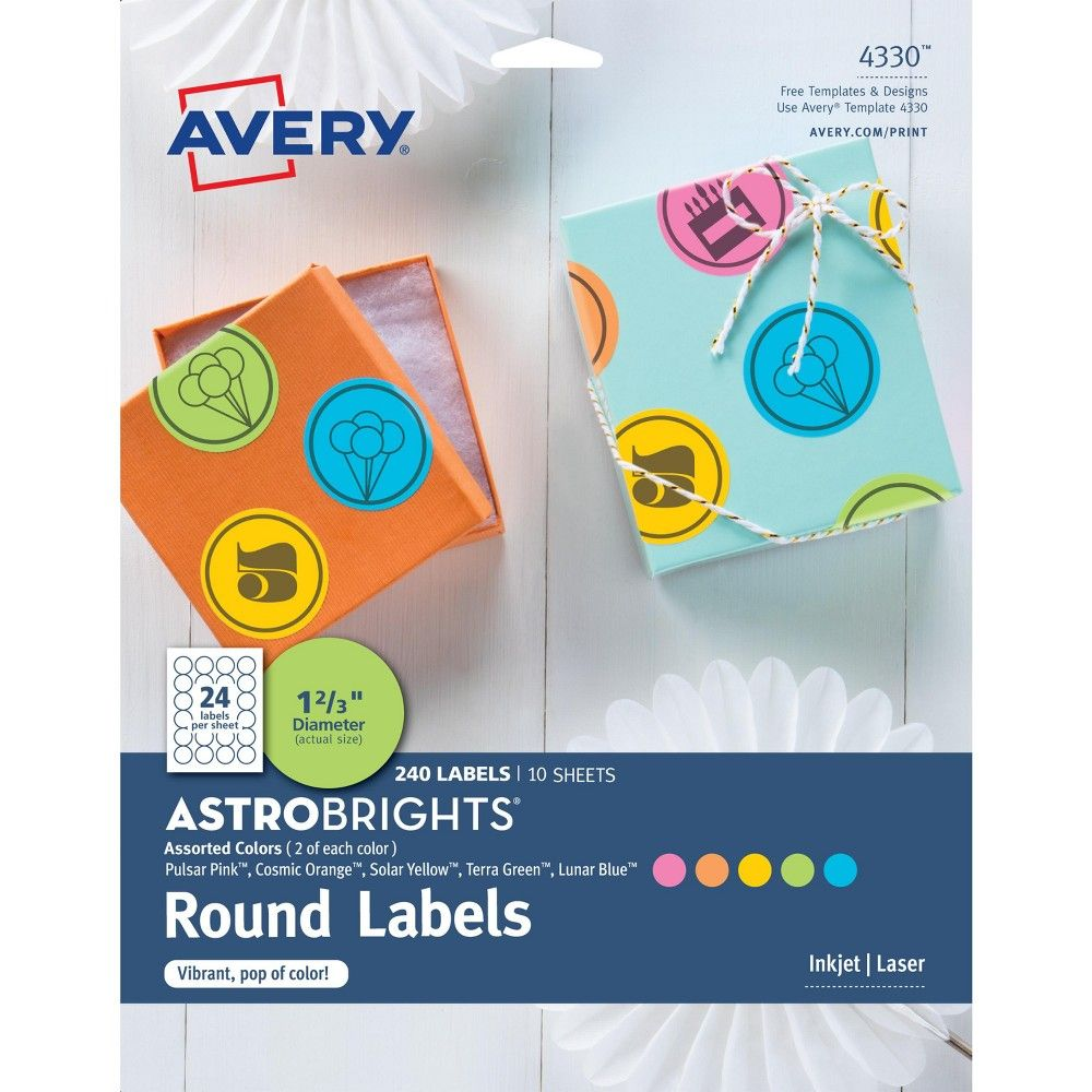 240ct Round Labels 1 6 Multicolor - Avery Astrobrights, Multi