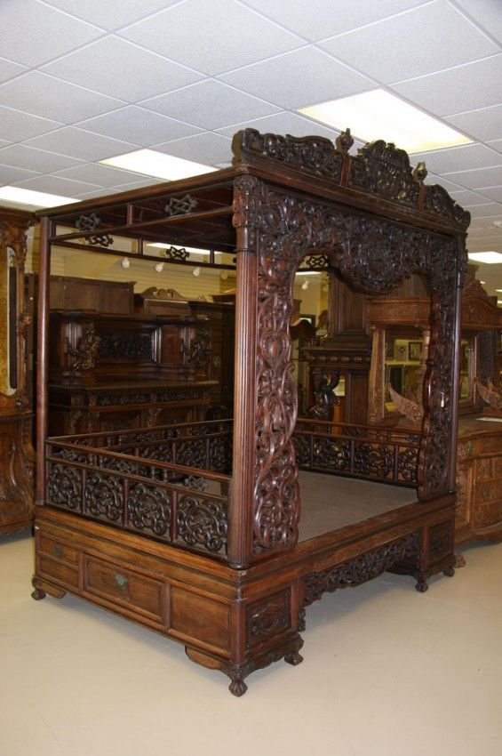 Antique Bed: 574: A Chinese Carved Hardwood Wedding/canopy Bed