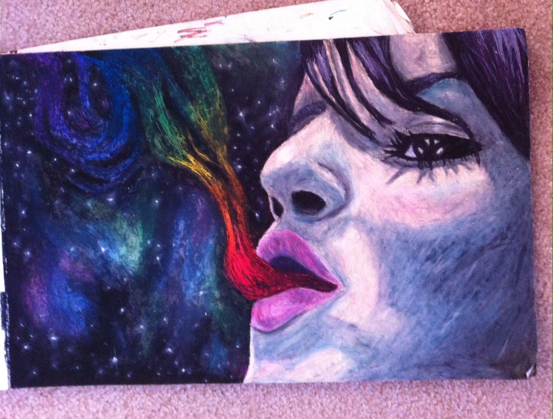 Art Oil Pastels Galaxy Rainbow Woman Smoke Painting Drawing