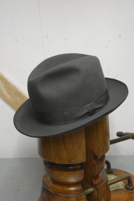 b3bade496d1ee Vintage 60's Grey Fur Felt Short Rimmed Fedora Trilby Hat by Walker ...