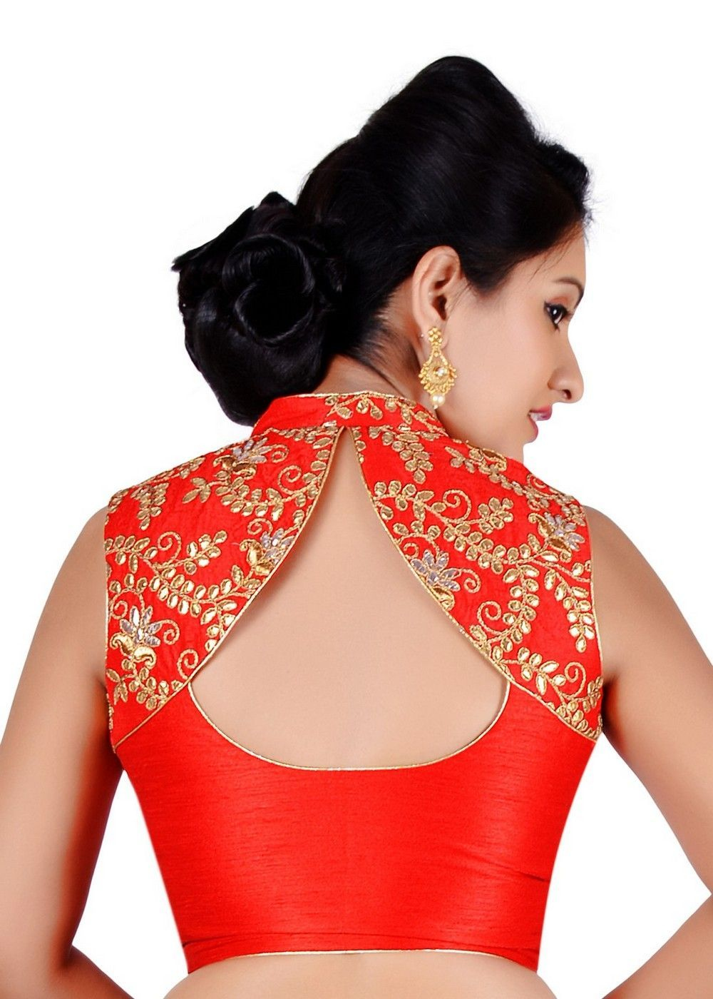 d044c3d936b0bb Salwar Studio Womens Red Color Dupion Silk Readymade Embriodered Saree  Blouse