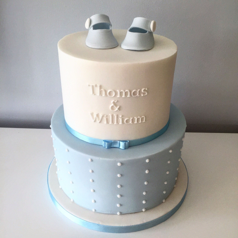 Boys Blue And White Christening Cake Clean Elegant Lines