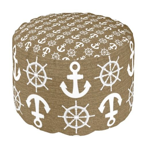 Burlap Look Nautical Ship's Anchors And Wheels Round Pouf All Stunning Anchor Pouf