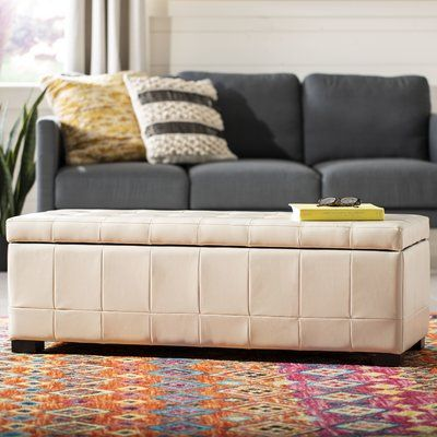 Brayden Studio Sinope Upholstered Storage Bench Color Off White Leather Storage Bench Large Storage Bench White Storage Bench