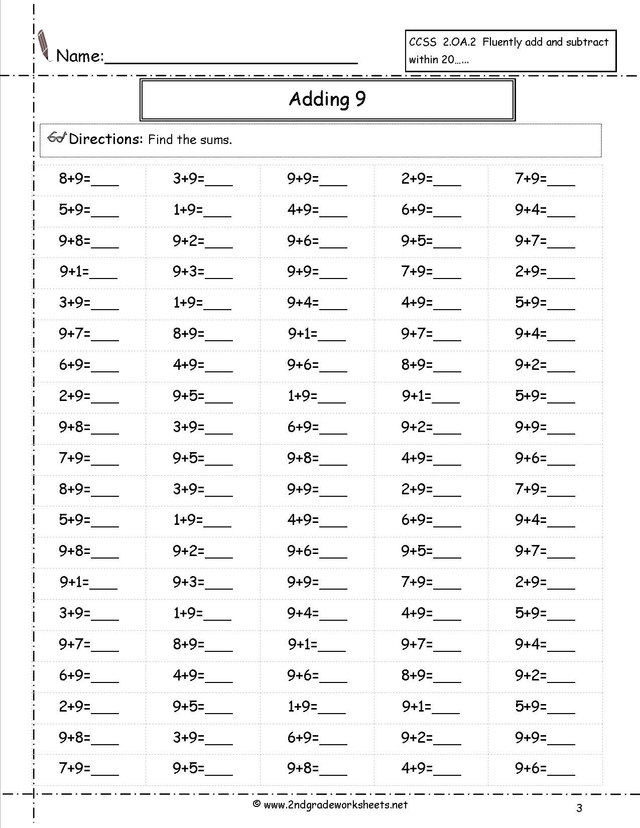 Adding 9 Worksheet