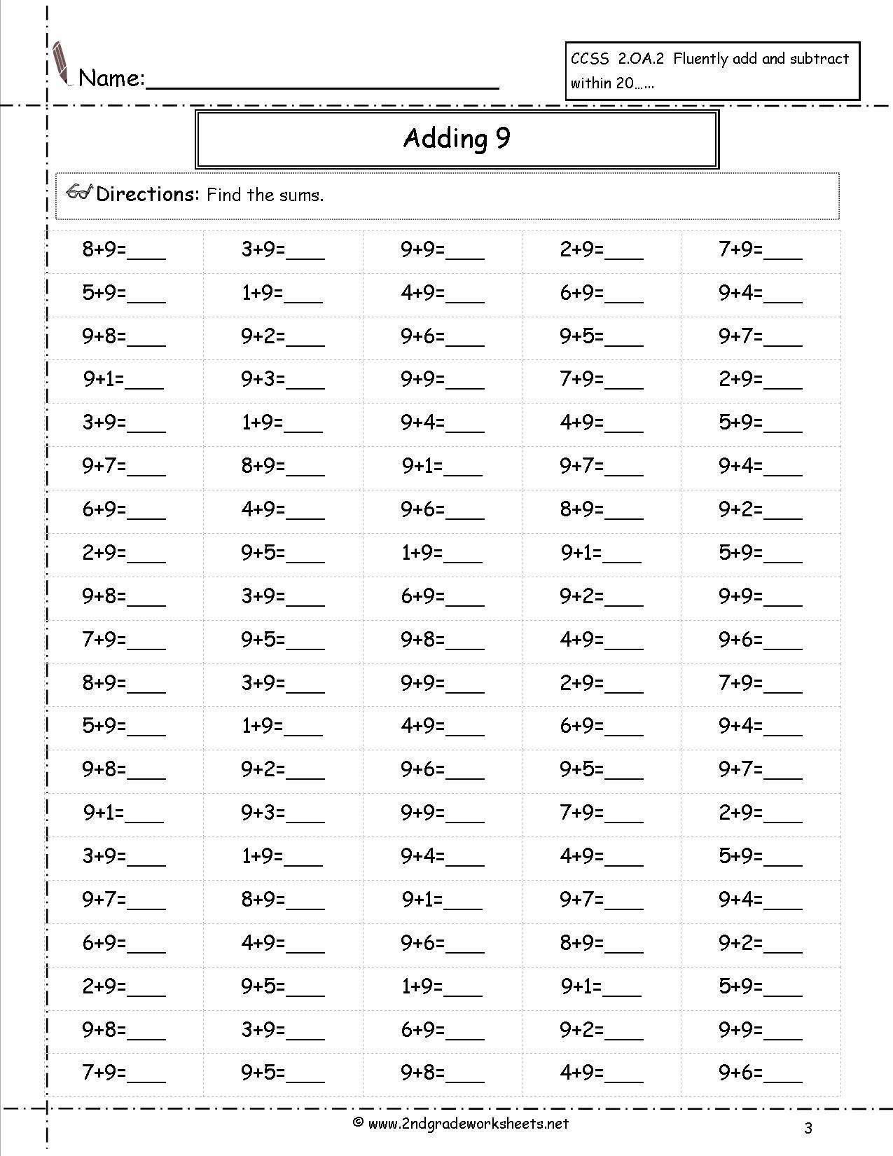 Adding 9 worksheet   1st grade math [ 1650 x 1275 Pixel ]