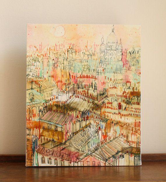 PARIS ROOFTOP ART, Sacre Coeur Canvas Print Mixed Media Painting ...