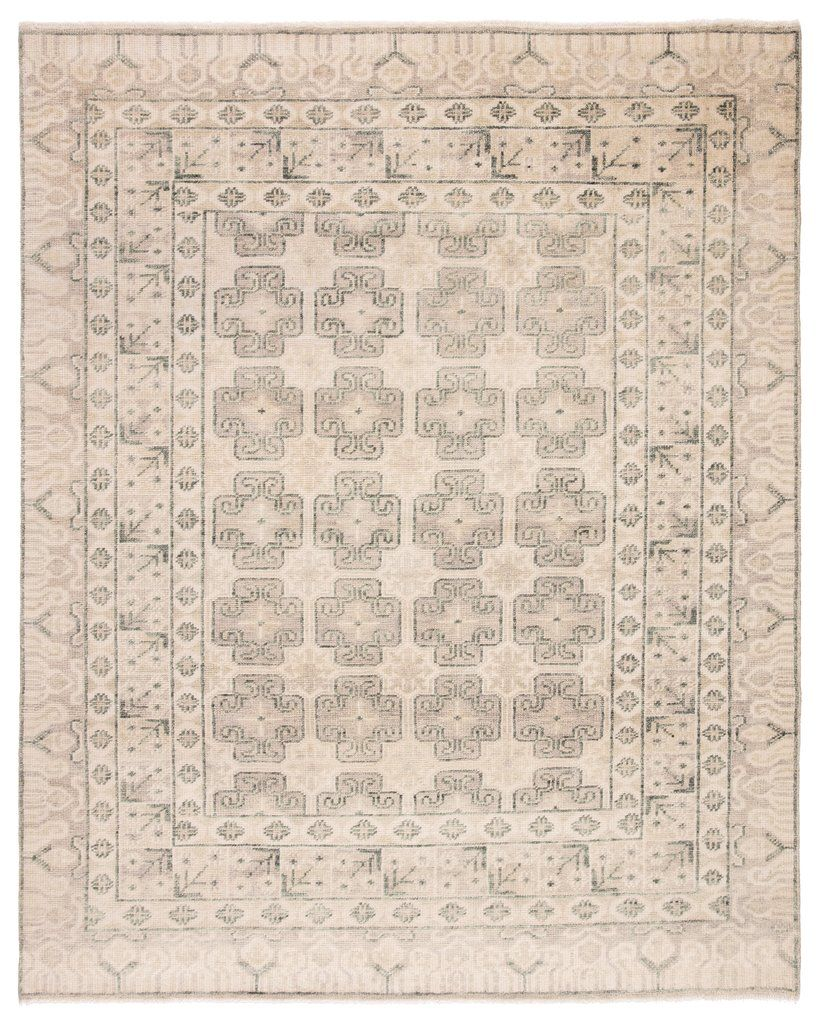 Stage Hand Knotted Border Ivory Green Area Rug Green Area Rugs Rugs Jaipur Living