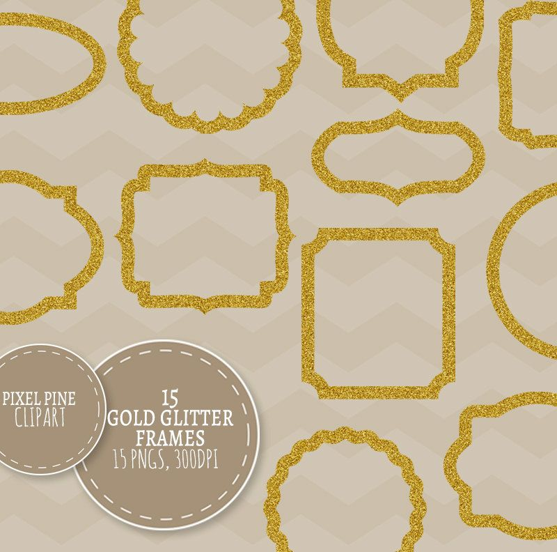 Gold Glitter Clipart Frames, 15 PNGs, Commercial Use, Gold glitter ...