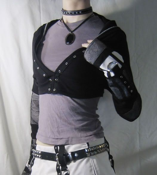 goth punk diy cropped hoodie with fishnet details. Black Bedroom Furniture Sets. Home Design Ideas