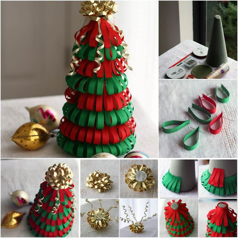 Creative Ideas Diy Ribbon Christmas Tree Icreativeideas Com Christmas Tree Decorations Diy Diy Tree Decor Diy Paper Christmas Tree