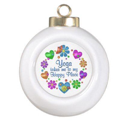 Yoga My Happy Place Ceramic Ball Christmas Ornament  yoga health
