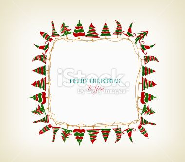 vintage christmas frame with trees Christmas frames, Free vector