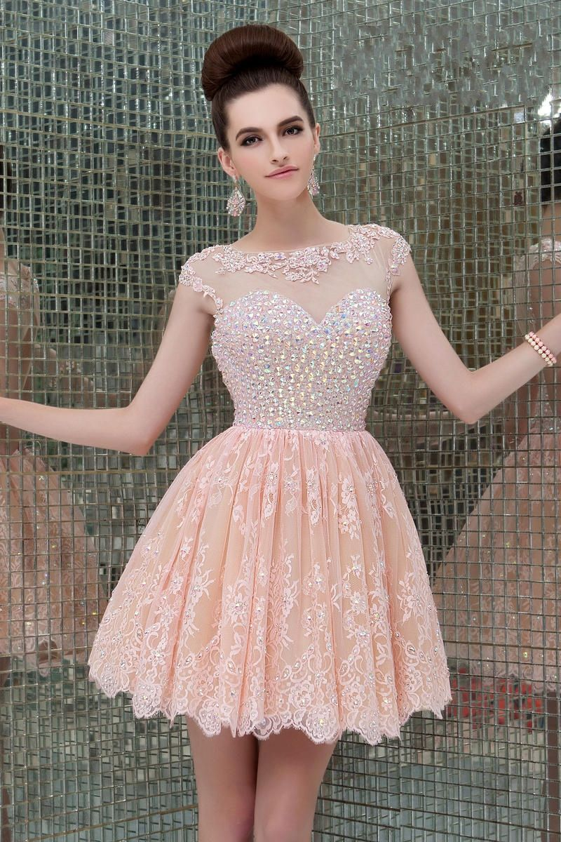 Luxury Crystal Short Lace Pink Party Dress | Lace & Luxury II ...