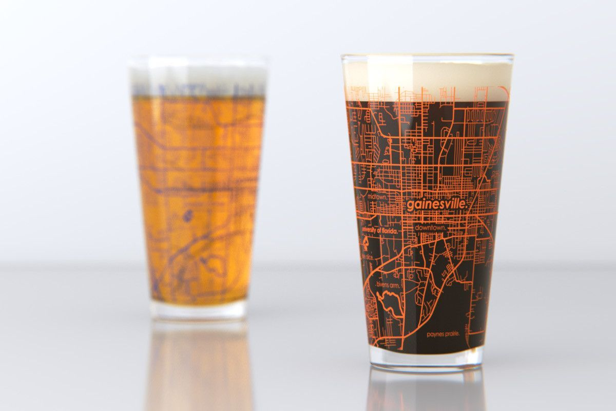 Florida Colleges Map.Pair Of 16 Oz College Town Map Pint Glasses Featuring The Campus