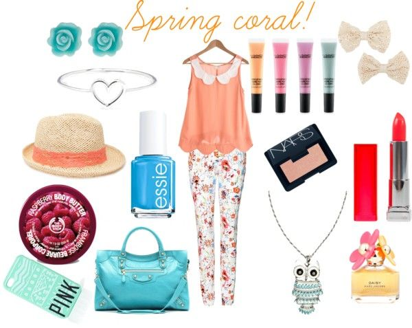 """""""spring coral"""" by gracestyrals21 ❤ liked on Polyvore"""