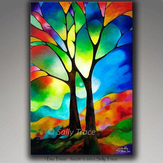 Original Abstract Tree Painting, Tree-Of-Life Acrylic ...