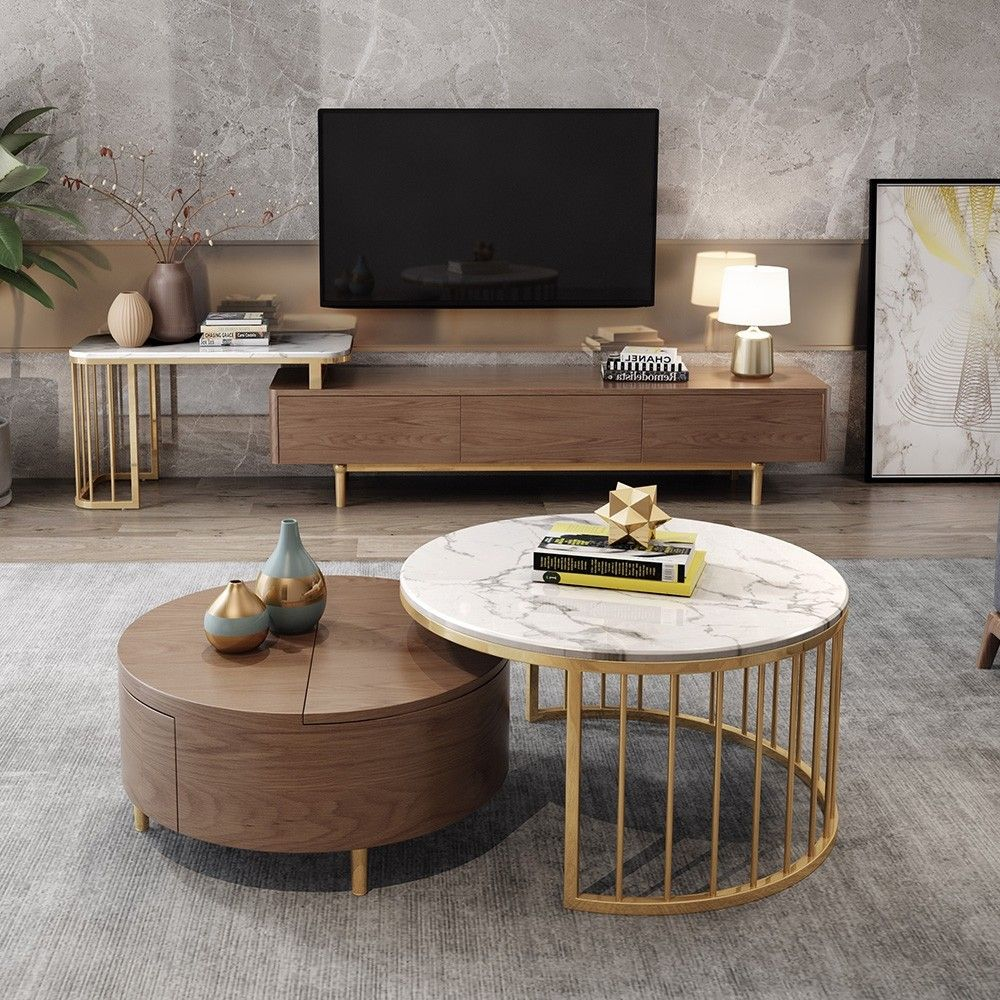 rotating marble nesting coffee table