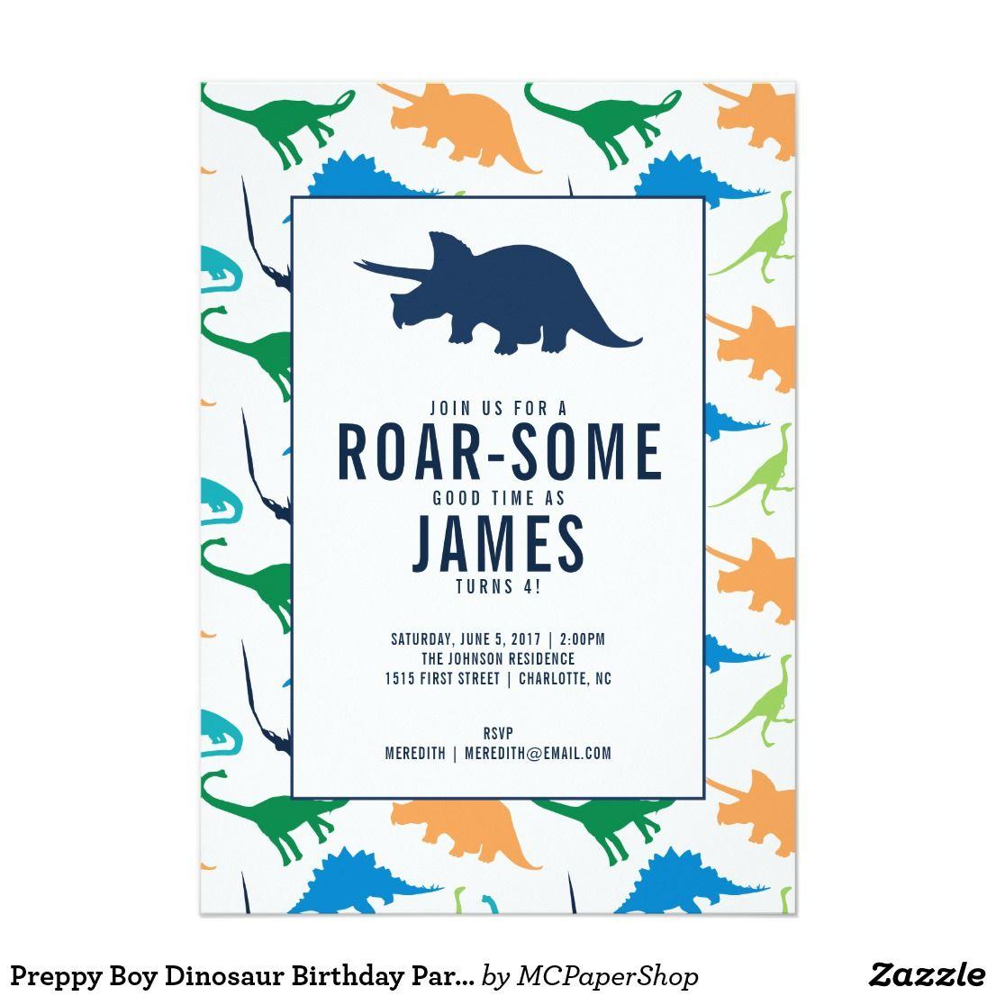 Preppy Boy Dinosaur Birthday Party Invitation | Children | Pinterest ...