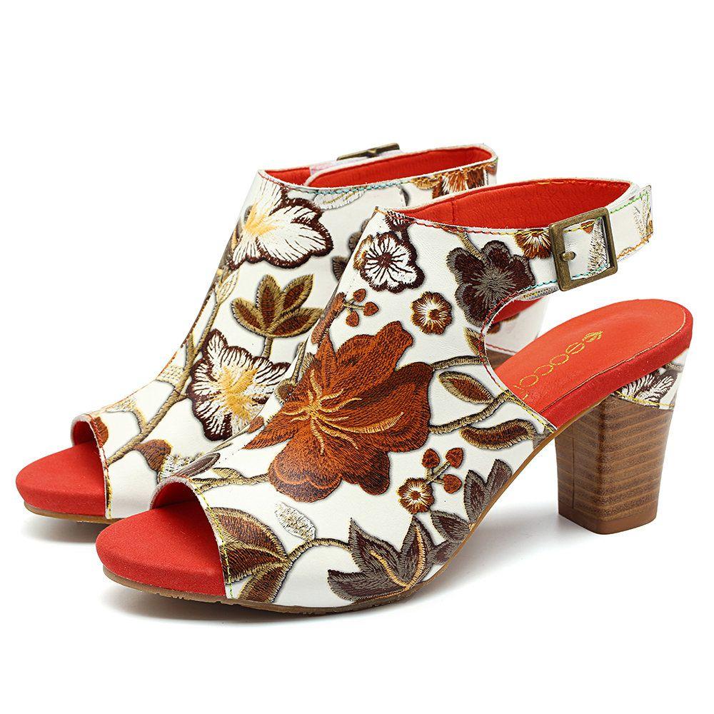 d113c4f16d9 SOCOFY Fancy Flowers Pattern Genuine Leather Soft Hook Loop Peep Toe Sandals