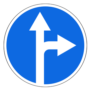 Turn Right Or Continue Straight On Rambu Lalu Lintas Sign Gambar Kartun