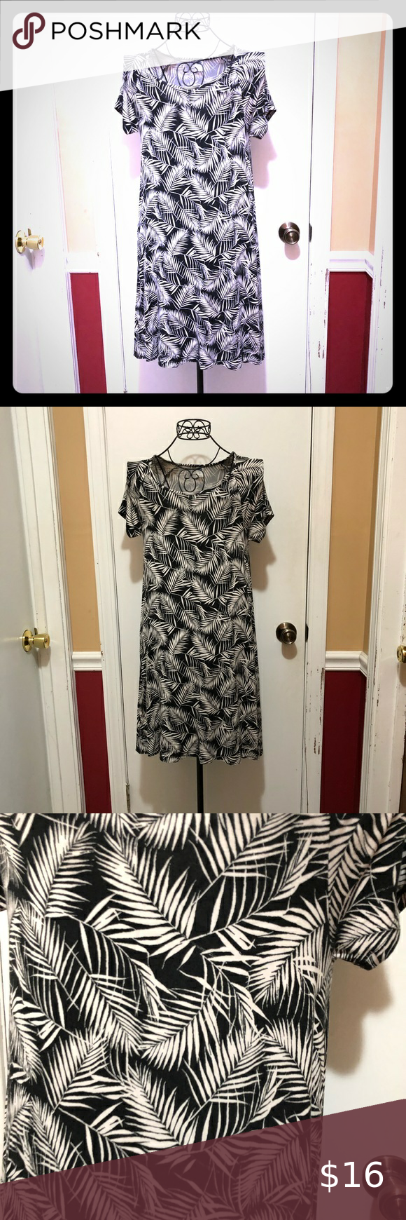 Old Navy Black White Leaves Dress In Excellent Preowned Condition No Issues Soft Material Old Navy Dresses In 2020 Black And White Leaves Navy Midi Dress White Leaf
