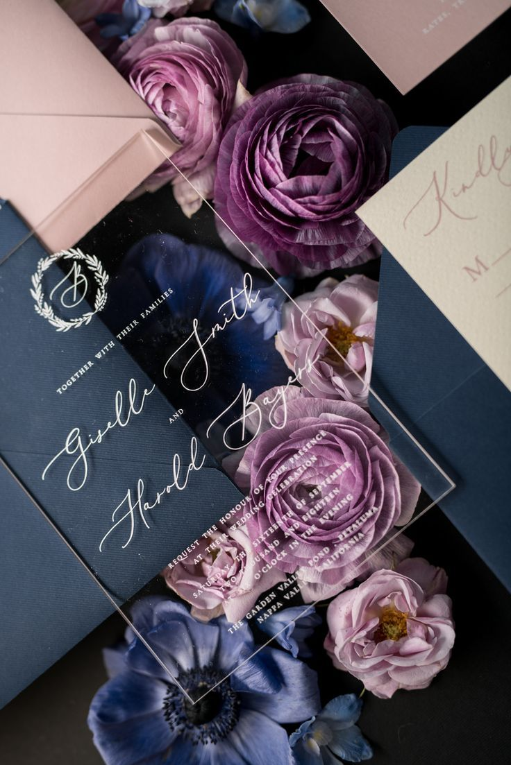 Vintage Wedding Invitations Transparent Stationery with Vellum and Wax Seal Blush Pink or Navy Blue Envelope 01/ACGN