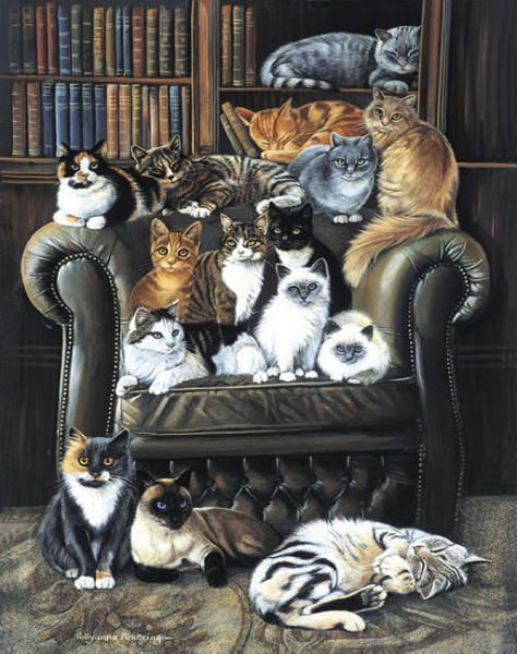 Many cats paintings. A Cats Life