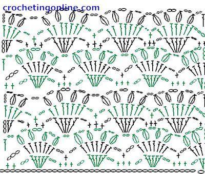 Lacy Crochet Fan Stitch Diagram Crochet Stitch Patterns Shell