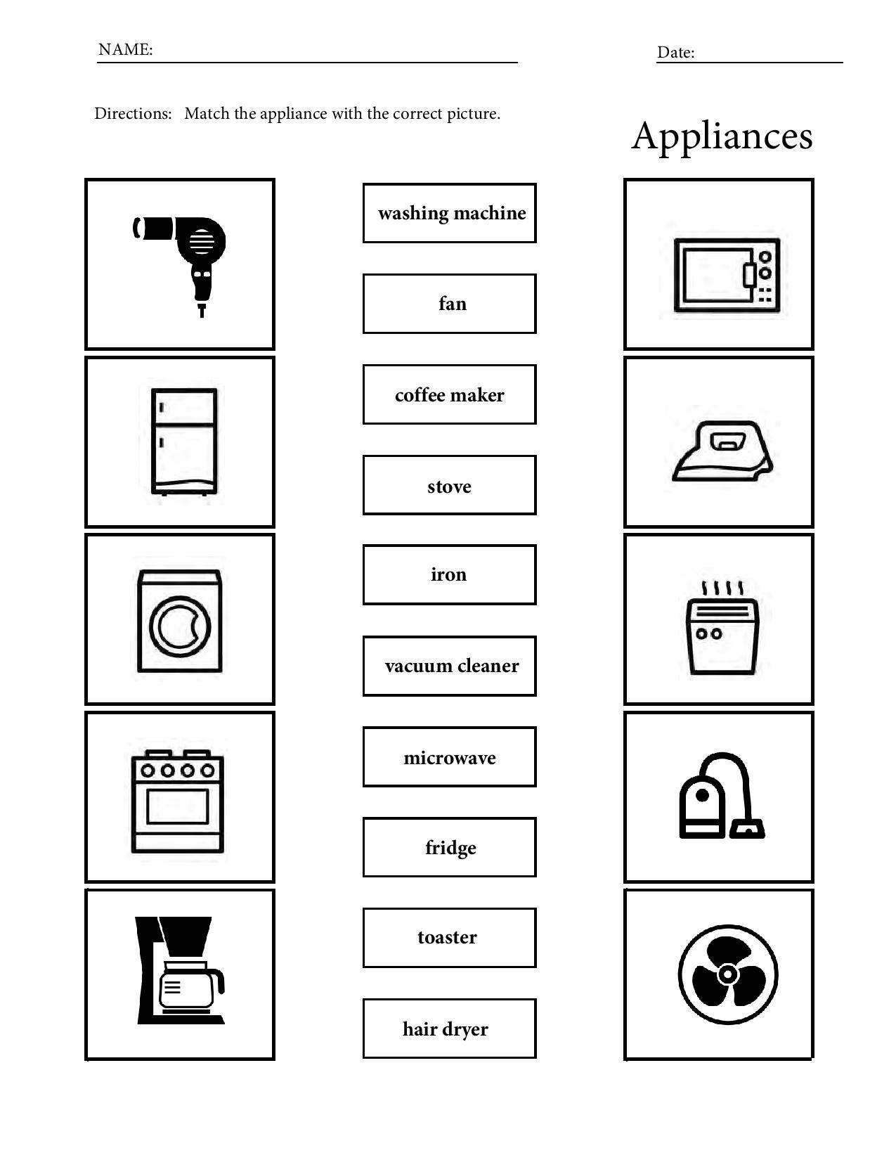Printable Appliances Vocabulary Worksheets For Children