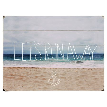 Add an inspiring touch to your living room or bedroom with this wooden wall art panel, featuring a photographic beach design and typographical detailing. Sho...