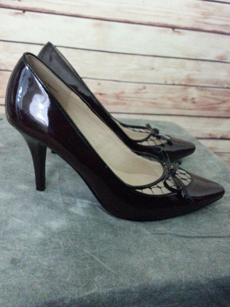 AUDREY BROOKE Pumps heel shoes brown patent leather Mesh Bow black trim sz  6 #AudreyBrooke