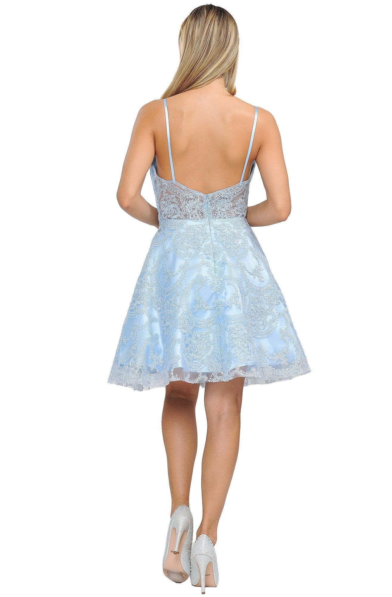 Poly USA - 8406 Lace Sweetheart A-line Cocktail Dress #backlesscocktaildress