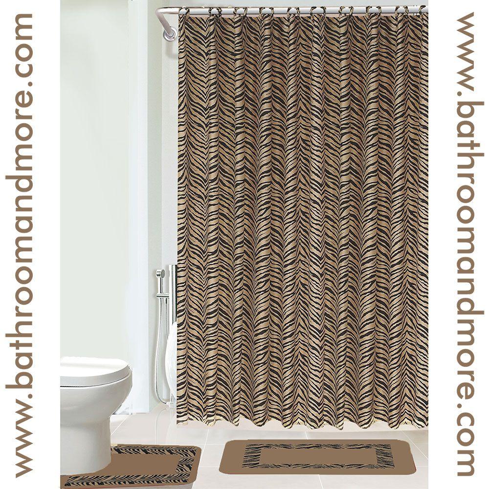 Bath mat set with shower curtain in a light brown zebra ...