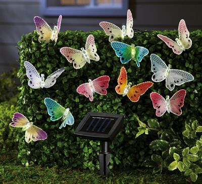 Solar Fiber Optic Butterfly String Lights