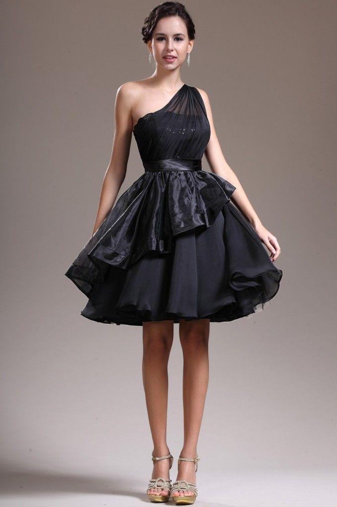Elegant Black One Shoulder Knee Length Organza A Line Cocktail Dress 2 Amazing Ideas