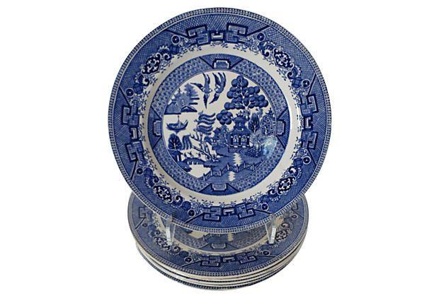 English Ridgway Blue Willow Plates, S/6 on OneKingsLane.com
