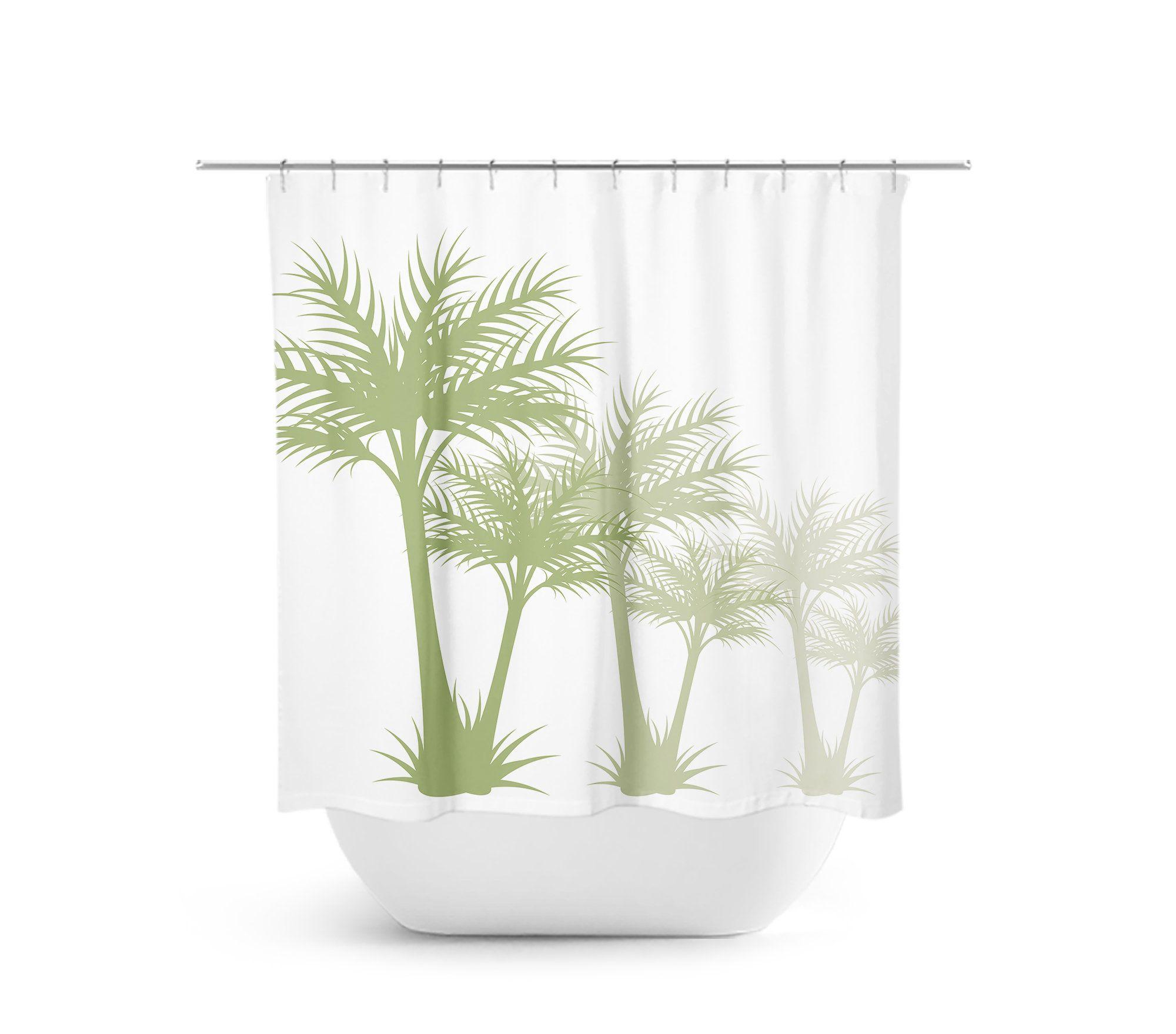 White Green Palm Tree Shower Curtain Tropical Bathroom Decor