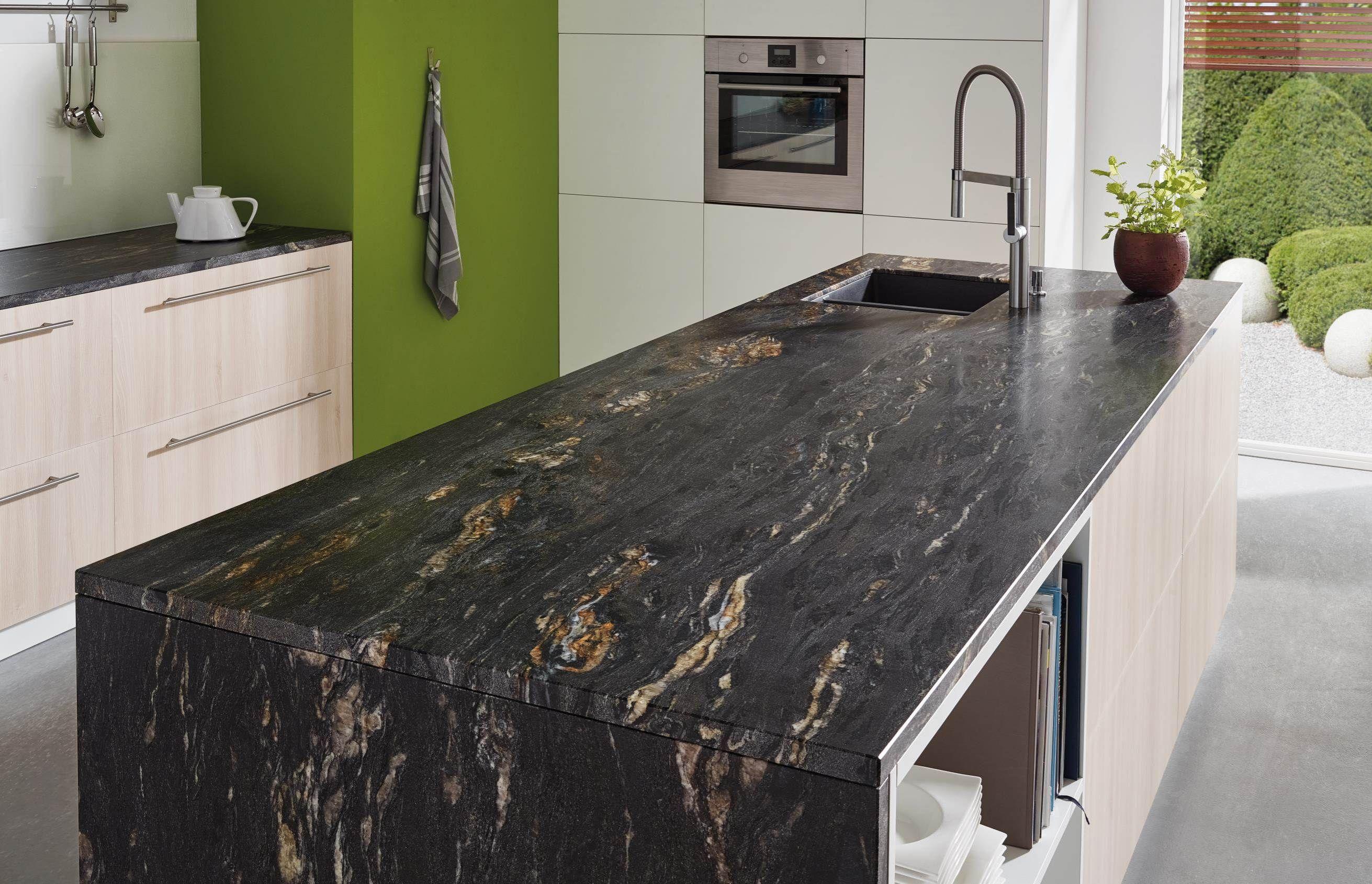 Lechner Kuchenarbeitsplatten Design Black Cosmic Schwarzer Granit Kuche Kuchendesign Kuche Gestalten